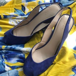 Royal blue suede peep toe wedges, size 10